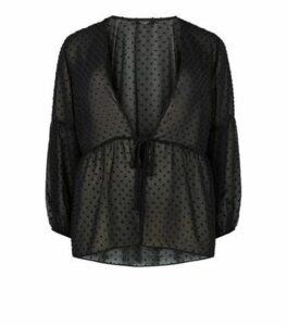 Curves Black Chiffon Spot Peplum Kimono New Look