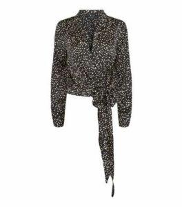 Black Satin Spot Tie Side Shirt New Look