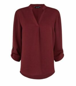 Burgundy Herringbone Tab Long Sleeve Shirt New Look