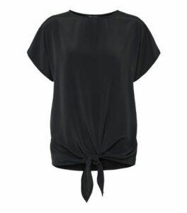 Black Woven Tie Front T-Shirt New Look