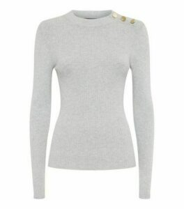 Pale Grey High Neck Button Shoulder Jumper New Look