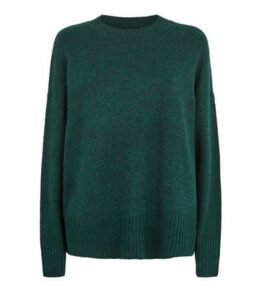 Dark Green Longline Crew Neck Jumper New Look