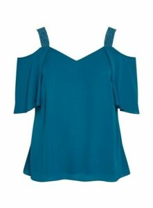 Teal Blue Sparkle Cold Shoulder Top, Teal