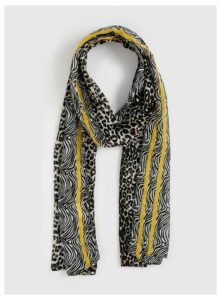 Mustard And Animal Print Scarf, Mustard