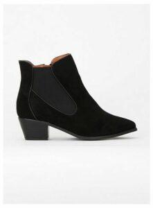 Wide Fit Black Curved Side Ankle Boots, Black