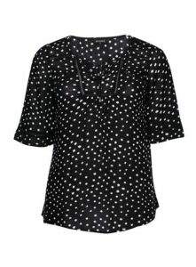 Black Polka Dot Top, Black