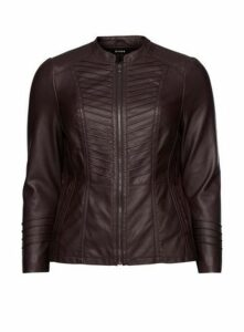 Plum Faux Leather Biker Jacket, Plum
