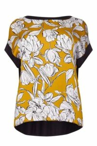 **Live Unlimited Mustard Floral Print Top, Mustard
