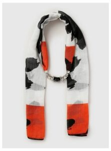 Black Animal Print Bead Scarf, Black
