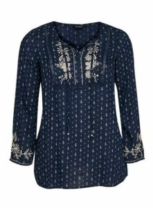Navy Blue Embroidered Long Sleeve Top, Navy