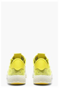 Womens Neon Lace Up Knitted Sports Trainers - yellow - 3, Yellow