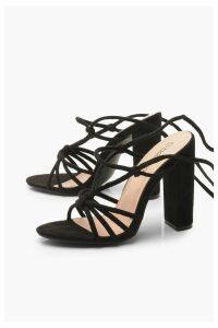 Womens Knot Front Wrap Strap Block Heels - black - 4, Black