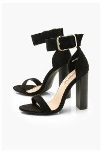 Womens Chunky Buckle Block Heel 2 Parts - black - 7, Black