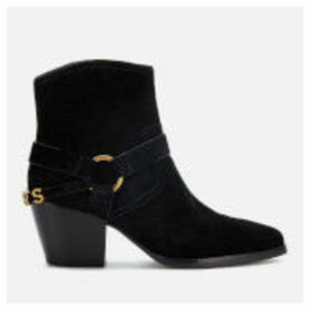MICHAEL MICHAEL KORS Women's Goldie Suede Western Boots - Black - UK 7/US 10 - Black