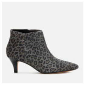 Clarks Women's Linvale Sea Suede Heeled Ankle Boots - Grey Leopard - UK 3