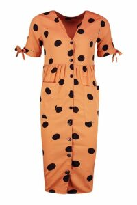 Womens Large Polka Dot Button Midi Smock Dress - orange - 14, Orange