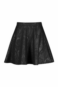 Womens Croc Coated Pu Skater Skirt - Black - 12, Black