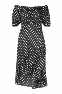 Womens Polka Dot Twist Ruffle Midi Skater Dress - black - 16, Black