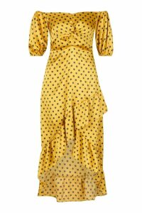 Womens Polka Dot Twist Ruffle Midi Skater Dress - yellow - 16, Yellow