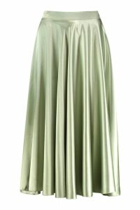 Womens Satin Full Midi Skirt - green - 14, Green