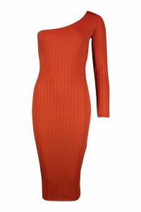 Womens Ribbed One Shoulder Midaxi Dress - orange - 16, Orange
