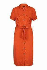 Womens Woven Button Through Tie Waist Shirt Dress - orange - XS, Orange