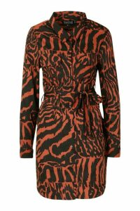 Womens Woven Animal Print Tie Waist Shirt Dress - brown - M, Brown