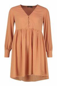 Womens Woven Button Detail Smock Dress - orange - 14, Orange