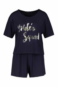 Womens Brides Squad T-Shirt & Short Set - navy - 16, Navy