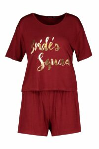 Womens Brides Squad T-Shirt & Short Set - Red - 14, Red