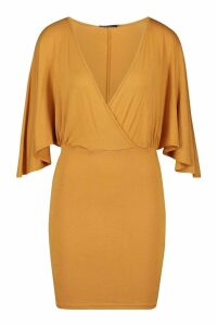Womens Jersey Wrap Cape Mini Dress - yellow - 14, Yellow