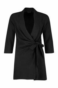 Womens Wrap Front Detail Blazer Dress - black - 14, Black