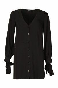 Womens Long Sleeve V Neck Button Shift Dress - black - 8, Black