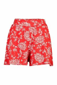 Womens Floral Jersey Flippy Shorts - Red - 16, Red