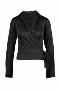 Womens Satin Wrap Tie Detail Shirt - black - 10, Black