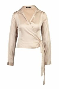 Womens Satin Wrap Tie Detail Shirt - beige - 10, Beige