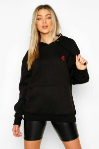 Womens Rose Pocket Embroidered Oversized Hoodie - Black - 12, Black