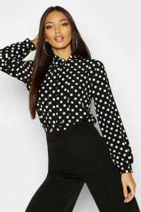 Womens Pussy Bow Polka Dot High Neck Blouse - black - 14, Black
