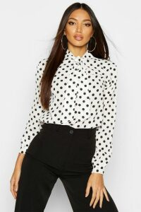 Womens Pussy Bow Polka Dot High Neck Blouse - White - 10, White