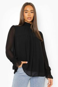 Womens Shirred Neck Cuff Smock Top - black - 16, Black