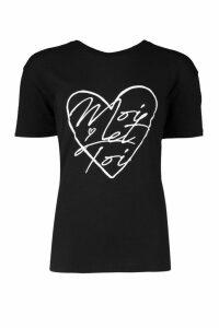 Womens Moi Et Toi Heart T-Shirt - black - S, Black