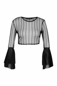 Womens Wide Sleeve Mesh Crop Top - black - 12, Black