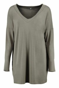 Womens Tall Oversized Long Sleeve Top - Green - 14, Green