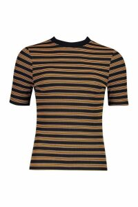 Womens Ribbed Stripe Ringer T-Shirt - Yellow - 8, Yellow