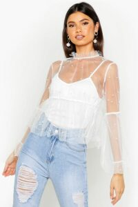 Womens Organza Pearl Embellished Top - White - 14, White