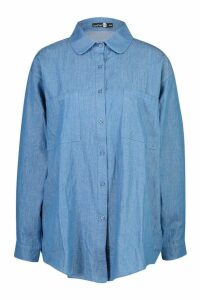 Womens Oversized Denim Shirt - blue - S/M, Blue