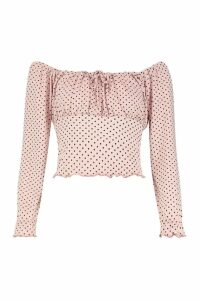 Womens Polka Dot Ruched Tie Front Top - pink - 14, Pink