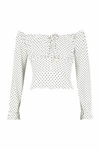 Womens Polka Dot Ruched Tie Front Top - white - 10, White