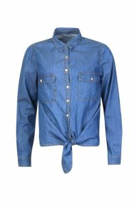 Womens Denim Tie Shirt Top - blue - 16, Blue