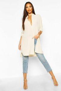 Womens Longline Oversized Sleeve Shirt - white - XL, White